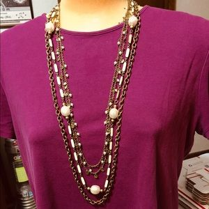 Old gold tone & white 4 tier necklace